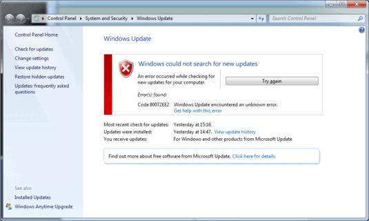 windows update error code 80072ee2