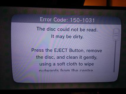Breath of the Wild Error Code 150-1031: Disc Could not be Read