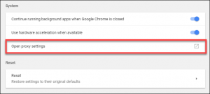 proxy settings in Google Chrome for Windows