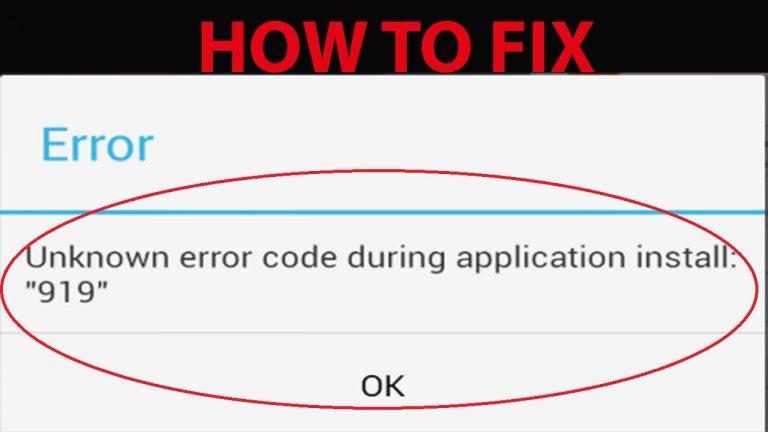 Google Play Store Error 919